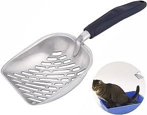 Littlegrasseu Kotschaufel Katze Katzenstreuschaufel Katzenschaufel Streuschaufel aus Metall und Plastik mit flexiblem Langem Griff für Katze