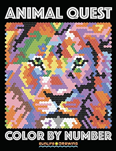 ANIMAL QUEST Color by Number: Activity Puzzle Coloring Book for Adults Relaxation & Stress Relief: Volume 1 (Coloring Quest Books) por Sunlife Drawing