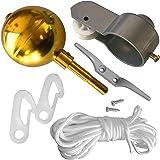 Vlaggenmast Reparatieset,Vlaggenmast Accessoires Vlag Pole Onderdelen Reparatie Tool Kits Katrol Ball Cleat Gevlochten Touw S