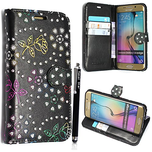 Kamal Star® Samsung Galaxy S6 Edge Plus SM-G928F VARIOUS FLIP PU LEDER CASE COVER HÜLLE ETUI TASCHE SCHALE + STYLUS (Rose Black Diamond Book)