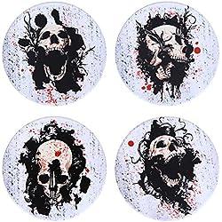 hompe Cool blanco calavera posavasos para bebidas, absorbente cerámica piedra posavasos conjunto de 4