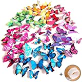 Imbry 3D Butterfly Wall Stickers, Wall Tattoo, Wall Decoration for Home, Room Decoration, Adhesive Dots + Magnets, 72 Pieces (12 Blue, 12 Purple, 12 Green, 12 Yellow, 12 Pink, 12 Red)