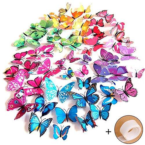 Preisvergleich Produktbild Imbry 72 Stück 3D Schmetterling Aufkleber Wandsticker Wandtattoo Wanddeko für Wohnung, Raumdekoration Klebepunkten+ Magnet (12 Blau + 12 Lila + 12 Grün + 12Gelb + 12 Rosa + 12 Rot) (Schmetterling)