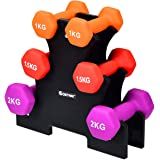 COSTWAY Dumbbell set, halters gewichten met dumbbell standaard, 2 x 1 kg, 2 x 1,5 kg, 2 x 2 kg, fitness halterset, gymnastiek
