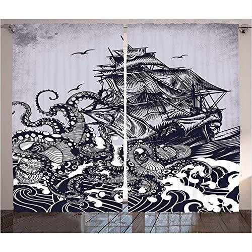 WKJHDFGB Nautische Vorhänge Dekor Segelboot Wellen Und Krake Schiff Mit Kraken Heimtextilien Wohnzimmer Schlafzimmer Fenster Vorhänge,215X200Cm