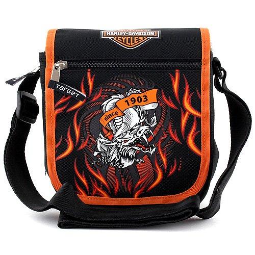 Preisvergleich Produktbild Harley Davidson 23897 Schultertasche Umhängetasche 21x18x6cm ,  Schwarz / Orange - 22 cm