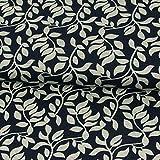 Stoffe Werning Strickjersey Blätterzweige Marine Modestoffe Flower Frauenstoffe Strickstoff - Preis Gilt für 0,5 Meter