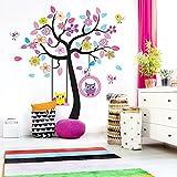 Grandora W918 Wandtattoo Baum Eulen Schaukel I mehrfarbig 160 x 170 cm I Kinderzimmer Kinder Baby selbstklebend Aufkleber Wandaufkleber Wandsticker