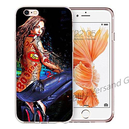 Blitz® LIPS motifs housse de protection transparent TPE caricature bande iPhone Girafe et chewing-gum M9 iPhone 6 6s Tattoo Girl M6