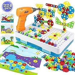 Bau Spielzeug Pegboard Puzzle zum Selberbauen von Eigenen Moasik-Set zum Selberbasteln, Bohrmaschine Kinder, Bausteine, Spielwerkzeug für Kinder Mädchen Jungen 3 4 5 Jahre alt