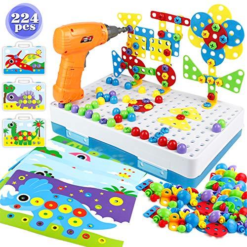 Ventaja: --Taladro giratorio de juguete, ligera y sencilla, herramienta segura para niños. --En comparación con otros comerciantes, 224 piezas de herramientas de construcción son suficientes para crear más objetos diferentes. --Mango portátil, cómodo...