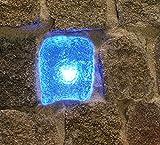 Wisdom LED-Plastersteinleuchte, 7x9cm, blau leuchtende Lichtsteine, 12 VDC, 0,25W, Leuchtstein, Pflastersteine