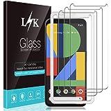 L K 3 Stücke Schutzfolie Panzerglas für Google Pixel 4, Pixel 4 Panzerglas Folie [Bubble Free] [Ausrichtungsrahmen Einfache Installation] HD Klar Gehärtetem Glas Displayschutzfolie