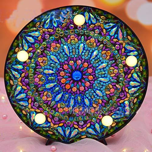 5D Diamant-Maler-Kits DIY LED Nachtlicht Full Drill Kristall Strass Nachtlampe Stickerei Mosaik-Punkte Malen nach Zahlen Kits Kunst Handwerk für Heimdekoration Mandala (Und Kunst Handwerk-malen)