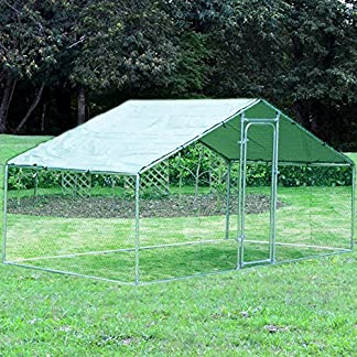 Warmiehomy Chicken Run for Hens Dogs Poultry Rabbit Ducks Coop Chickens (2m x 4m) Chicken Coop 4m x 2m x 2m Metal Walk-in Hen Run House with Waterproof Anti-Ultraviolet Cover, Poultry Shade Cage for Outdoor Backyard Farm Use 61l6HJ4edYL