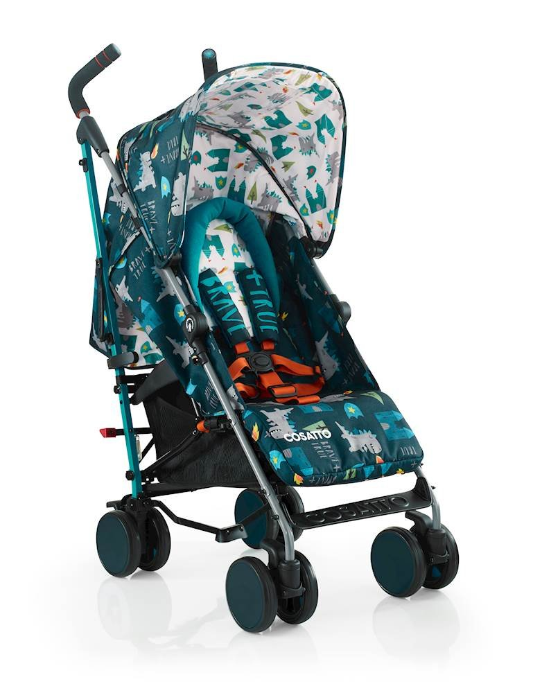 Cosatto Supa 2018 Baby Stroller, Suitable from Birth to 25 kg, Dragon Kingdom Cosatto Suitable from birth up to 25 kg stroller; umbrella fold lightweight aluminium chassis with carry handle and folded free-standing feature For added comfort Supa 2018 has an integral upf100+ extended hood; one handed four position seat recline and adjustable calf support Supa 2018 has everything you need: Spacious storage basket, co-ordinating fleece lined footmuff, reversible washable liner, chest pads and recent born head hugger, rain cover and handy cup holder 2
