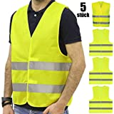 JHCtech Pack of 5 High Visibility Vests Car Neon Yellow Washable 360 Degree Reflective Safety Vest for Drivers, Drivers and W