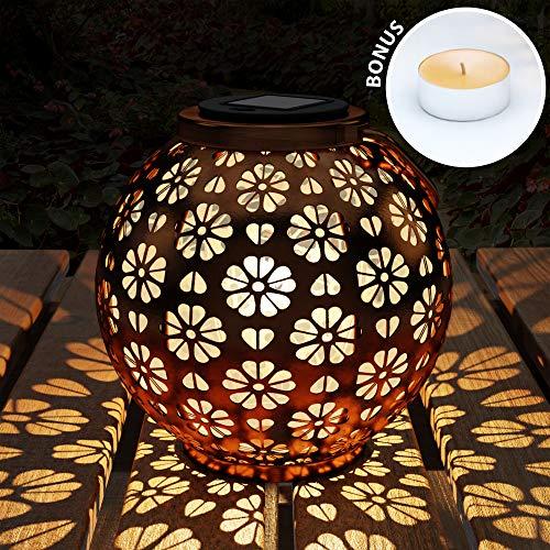 Dream Life-LD Solarlaterne mit Blumenmuster - Runde Outdoor LED Tischleuchte Solar Laterne für Außen, Garten, Terrasse, Balkon - Wetterbeständig, Lange Laufzeit - Aufhängbar & Aufstellbar