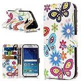 BONROY Samsung Galaxy S6 Edge Hülle, Case Cover Schutzhülle Tasche Etui Klapphülle Magnetisch Dünn PU Leder Folio Flip für Samsung Galaxy S6 Edge-(Farbe Schmetterling)