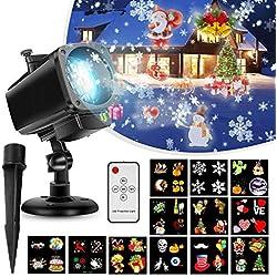 Proyector de Luces Navideñas,Luces Proyector Navidad LED lente 18 en 1 Control remoto impermeable, interior/interior Decoración de luz de Navidad para Halloween, fiesta, con 12 diapositivas