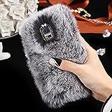 FLOVEME Kaninchen Haare Handyhülle für Samsung Galaxy S5 Extreme Deluxe Bling 3D Diamant Kristall Kette Tiny Schleife Winter Weich Warm Fell Schutzhülle Haut Grau
