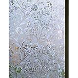Zindoo 3D ohne Klebstoff Fensterfolie Dekorfolie Sichtschutzfolie Blumen Tulpe Privatsphäre Schutz Fenster Folie für Heim Kueche Buero 90 * 200CM