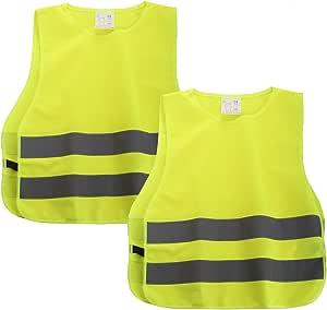 Shyosucce 2 Stück Warnwesten Kinder En1150 360 Grad Reflektierende Sicherheitsweste Gelb Universal Größe Xs Für Jungs Mädchen 45x40cm Auto