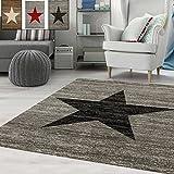 Teppich-Home Kurzflor Teppich Wohnzimmer Stern Muster Meliert Rot. Schwarz, Beige Grau Pflegeleicht, Farbe:Grau, Maße:120x170 cm
