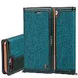 """Apple iPhone 7 Plus 5,5"""" Leder Hülle Flip Case Handytasche und Brieftasche mit Standfunktion Kredit Karten Fach mit Unsichtbarem Magnet,Grün"""