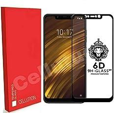 CELLUTION™ Full Glue 100% Coverage 5D Tempered Glass, Full Edge-to-Edge Screen Protector for Xiaomi Poco F1 - Black