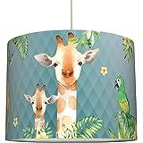 anna wand lampe suspendue Jolly Jungle bleu - Abat-jour pour enfants/bébé - Lumière douce pour chambre d'enfant fille / garço