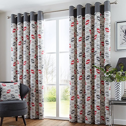 Just Contempo Leaf Eyelet Lined Curtains, Red, 90x72 Inches