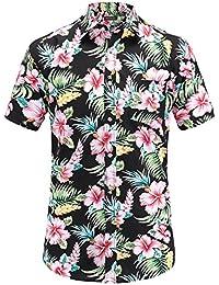 JEETOO Homme Chemise Hawaienne Casual Manches Courtes à Fleurs Été