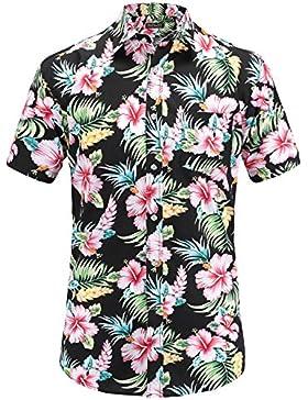 JEETOO Camicia Casual da Uomo Manica Corta Ananas Aloha Stile Hawaiana