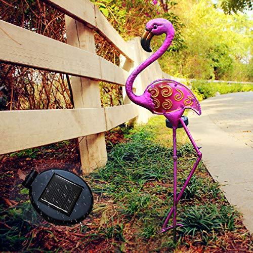 Garten Solarleuchten Pink Flamingo Garden Ornaments Pfahlleuchten für den Garten im Freien - Garten Pink Flamingo