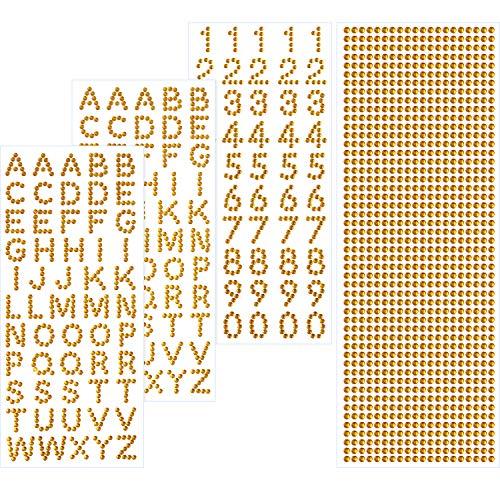Gold Aufkleber Set (Grad Deckel Dekoration Set Funkeln Alphabet Brief Aufkleber und Edelstein Grenze Aufkleber für Graduierung Deckel und Andere Kunsthandwerk (Gold))