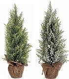 Nadelbaum mit Schnee oder Frost - Künstlicher Bonsai Weihnachtsbaum - Weihnachtsdeko 45 cm (beschneit)