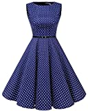 Bbonlinedress 50s Vestidos Vintage Retro Rockabilly Clásico RoyalBlue White Dot L