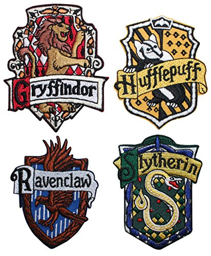 cool-patches Set von 4 Hogwarts House Schwarz Bademantel Embleme Harry Potter Eisen auf Aufnäher Patch