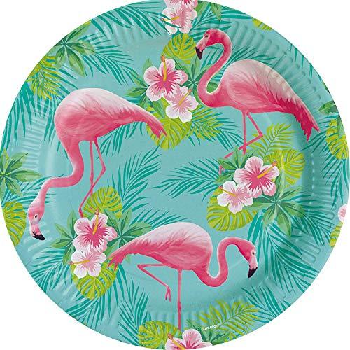 (8 Teller * FLAMINGO PARADISE * für Mottoparty oder Kindergeburtstag // Party Geburtstag Hawaii Pink Pappteller Partyteller Plates)