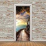XIAOXINYUAN DIY Meer Landschaft 3D Tür Aufkleber PVC Wasserdichte Türen Poster An Der Wand Aufkleber Aufkleber Für Zimmer Schlafzimmer Home Decor
