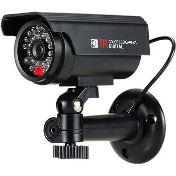 KKmoon Cámara Simulada Falsa de Vigilancia, Camara Bala, Energía Solar, Impermeable con Luz LED para Seguridad Hogar Oficina Mercado Color Negro