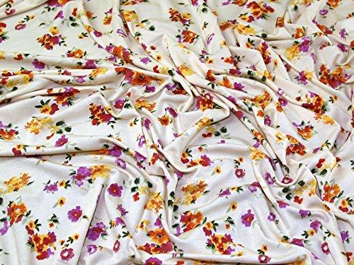 Floral Print Rayon Stretch Jersey Knit Kleid Stoff, Meterware, cremefarben