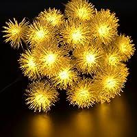 Kitlit 20s LED stringa solare luci,Luci natalizie,solari Catene luminose, esterne bianco caldo Globe Chuzzle sfera del partito Festival Gardens