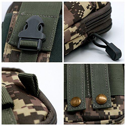 Cintura in vita borsa custodia per cellulare tasca marsupio mentre Outdoor trekking campeggio, green ACU