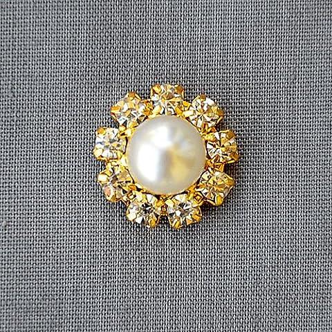 20 Rhinestone Button Brooch Embellishment Crystal Pearl Bridal Brooch Bouquet Wedding Invitation Cake Decoration Gold DIY