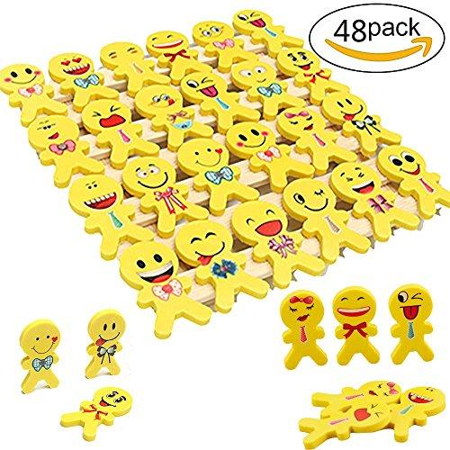 YueChen 48 x Emoji Emoticon Lápiz Gomas borrar Lindos, Regalo de Regalo para la Fiesta de Cumpleaños Fiesta de los Niños recompensa Escolar Fiesta en el Jardín