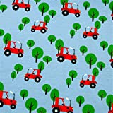 0,5m Jersey kleine rote Trecker & Bäume auf hellblau 5% Elasthan 95% Baumwolle Meterware 140cm breit Gewicht: 200 g/m²