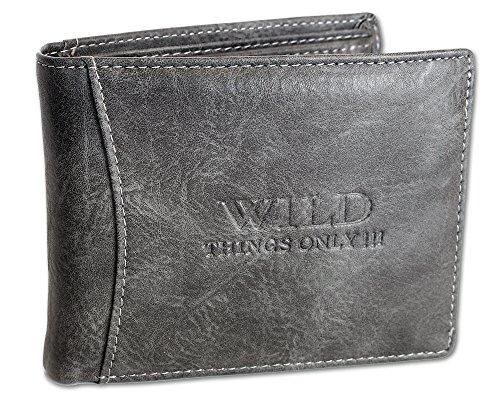 Herren Portemonnaie Geldbörse Wallet Brieftasche Portmonee Querformat Innenriegel 4 Farben (1142) (Dunkelgrau) (Biker Tri-fold Wallet)