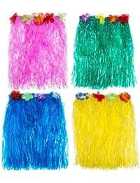 TOOGOO(R) 4 Pieces Multicolor Hawaiian plastic Faux Flowers Hula Grass Skirt Party Beach Dance Dress